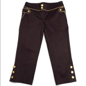 Cache Capris Military style gold buttons brown